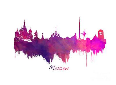 Moscow Skyline Digital Art - Moscow Skyline Purple by Justyna JBJart
