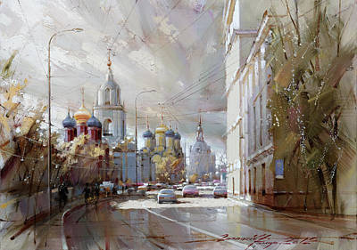 Moscow Skyline Painting - Moscow. Varvarka Street. by Ramil Gappasov