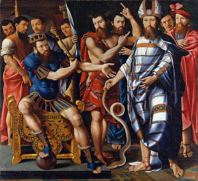 Moses Painting - Moses And Aaron Before Pharaoh. An Allegory Of The Dinteville Family by Master of the Dinteville Allegory