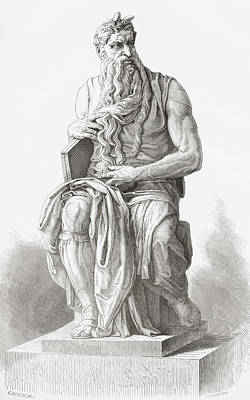 Statue Portrait Drawing - Moses, C. 1513 by Vintage Design Pics