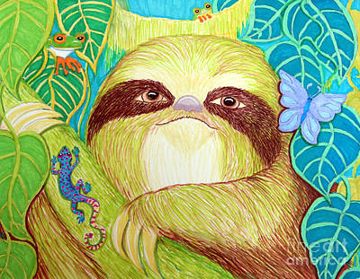 Amphibians Drawing - Mossy Sloth by Nick Gustafson