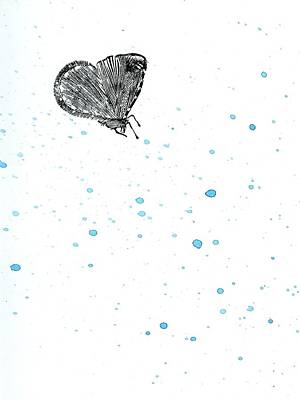 Dot Drawing - Moth by Bella Larsson