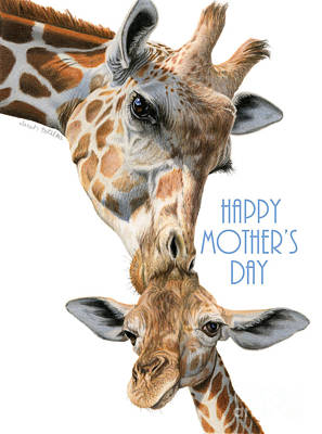 Giraffe Drawing - Mother And Baby Giraffe- Happy Mother's Day Card by Sarah Batalka