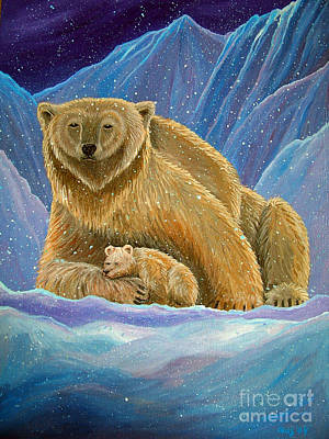Bear Painting - Mother And Baby Polar Bears by Nick Gustafson