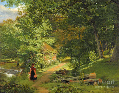 Woodland Painting - Mother And Child Accompanied by William Frederick