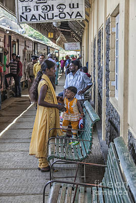 Wooden Platform Photograph - Mother And Child At Train Station In Sri Lana by Patricia Hofmeester