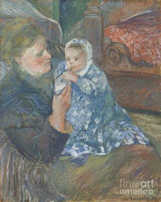 Mother And Child Print by Camille Pissarro