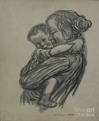 Mother And Child Drawing - Mother And Child Charcoal Drawing by Anthony Morretta