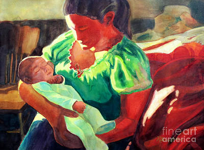 Mother And Child In Red2 Original by Kathy Braud