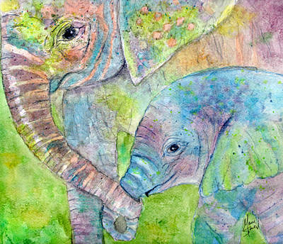 Print Card Painting - Mother And Child by Marie Stone Van Vuuren
