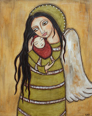 Christian Art . Devotional Art Painting - Mother And Child by Rain Ririn
