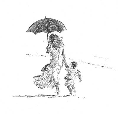Heat Drawing - Mother And Child  Sri Lanka by Lincoln Seligman