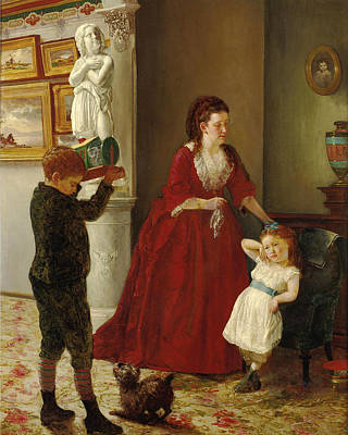 Painting - Mother And Children In An Interior by Joseph Oriel Eaton