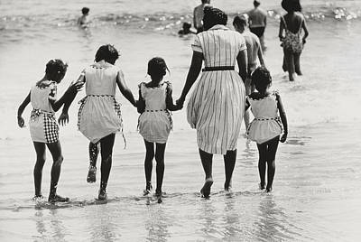Mother And Four Daughters Entering Water At Coney Island Print by Nat Herz