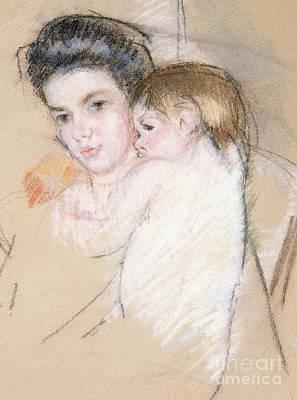 Mother And Nude Child Print by Mary Stevenson Cassatt