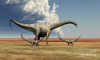 Caring Mother Digital Art - Mother Diplodocus Dinosaur Walks by Corey Ford