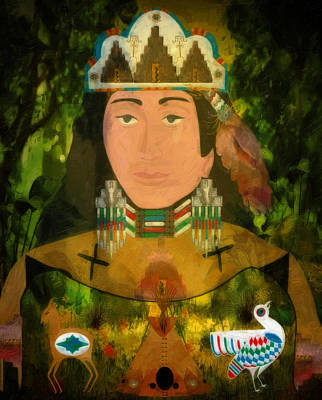 Indian Cherokee Digital Art - Mother Earth Native America by Sharon and Renee Lozen