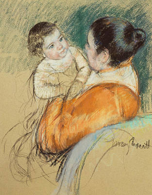 Mother Louise Holding Up Her Blue Eyed Child Print by Mary Stevenson Cassatt