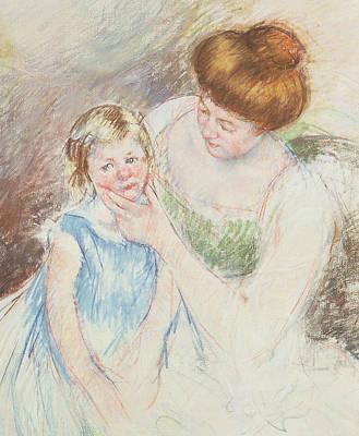 Mother With Left Hand Holding Sara's Chin  Print by Mary Stevenson Cassatt