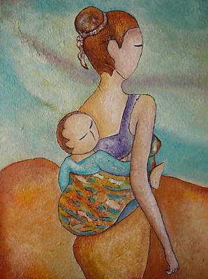 Mums Painting - Motherhood Painting Walking With You Original Oil By Gioia Albano by Gioia Albano