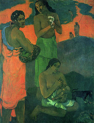 Puppies Painting - Motherhood - Women By The Sea by Paul Gauguin