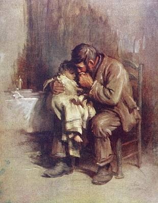 Comfort Drawing - Motherless. A Widowed Father Comforts by Vintage Design Pics