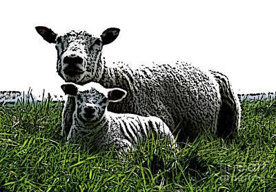 Sheep Mixed Media - Motherly Love by Steve K