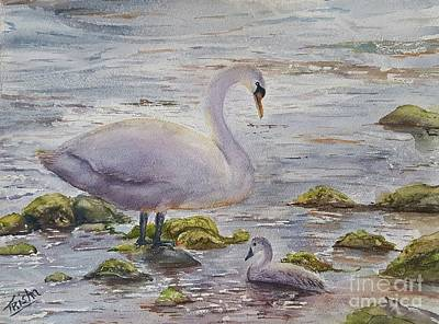 Swans... Painting - Mother's Day by Patricia Pushaw