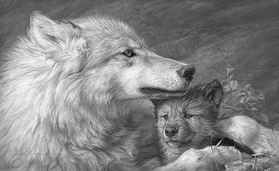 Gray Wolf Painting - Mother's Love - Black And White by Lucie Bilodeau