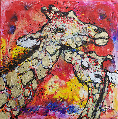 Mother And Baby Giraffe Painting - Mother's Love  by Jyotika Shroff