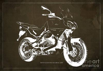 Moto Guzzi Stelvio 1200 4v 2010, Brown Blueprint Print by Pablo Franchi