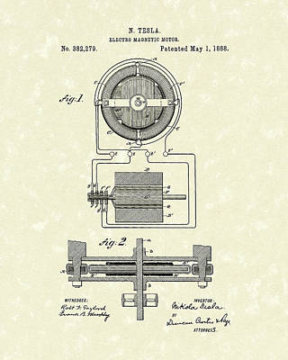Patent Artwork Drawing - Motor 1888 Patent Art by Prior Art Design