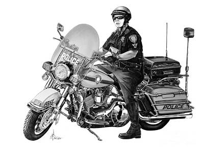 Motorcycle Police Officer Print by Murphy Elliott