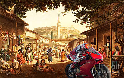 At Poster Digital Art - Motorcycle's Race At Bazaar At Athens by Pablo Franchi