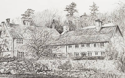 Pen And Ink Tree Drawing - Mottistone Hall  Isle Of Wight by Vincent Alexander Booth