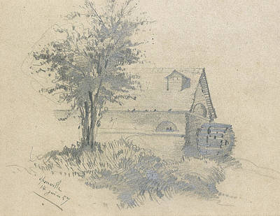Moulin Drawing - Moulin On The Lezarde by Claude Monet