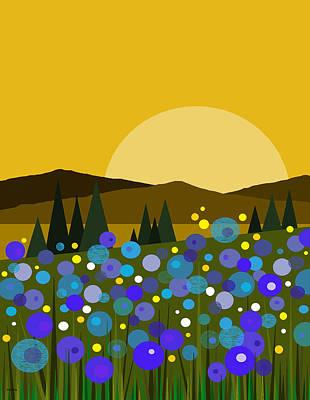 Minimalist Landscape Digital Art - Mounntain Meadow Sunrise - Bluebells by Val Arie