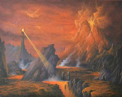 Lotr Painting - Mount Doom The Eye Of Sauron by Joe  Gilronan