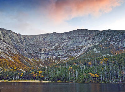 Mount Katahdin From Chimney Pond In Baxter State Park Maine Print by Brendan Reals