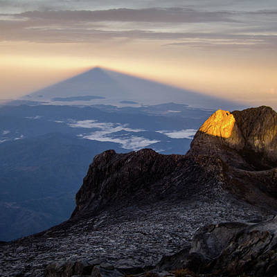Shadow World Photograph - Mount Kinabalu Sunrise by Dave Bowman