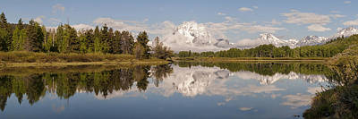 Mount Moran On Oxbow Bend Panorama Print by Brian Harig