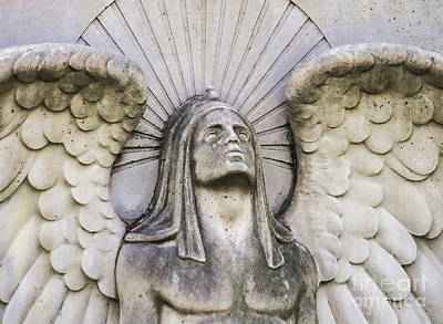 Mount Olivet Cemetery Archangel Strong Wings Print by Photo Captures by Jeffery