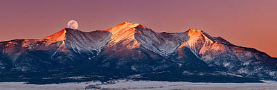 Colorado Sunset Photograph - Mount Princeton Moonset At Sunrise by Darren White