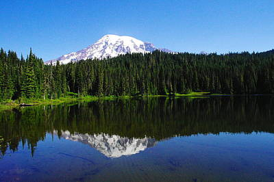 Mount Rainer Reflecting Into Reflection Lake Print by Jeff Swan
