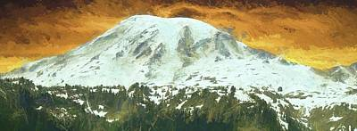North Cascades Mixed Media - Mount Rainier Sunset by Dan Sproul
