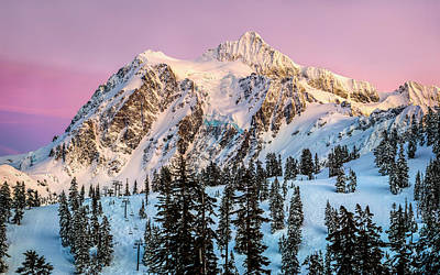 Mount Shuksan At Sunset Print by Alexis Birkill