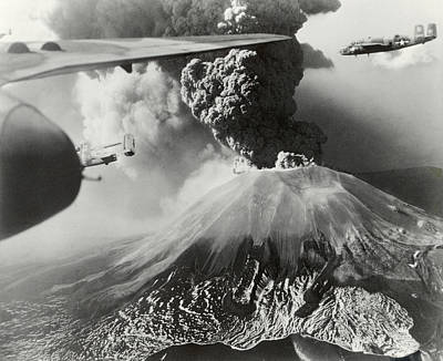 World War Ii Bomber Photograph - Mount Vesuvius Coughs Up Ash And Smoke by Us Army Air Forces Official