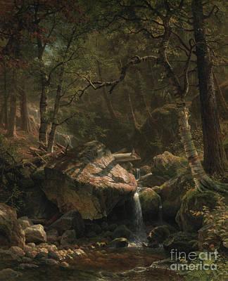 Great Outdoors Painting - Mountain Brook by Albert Bierstadt