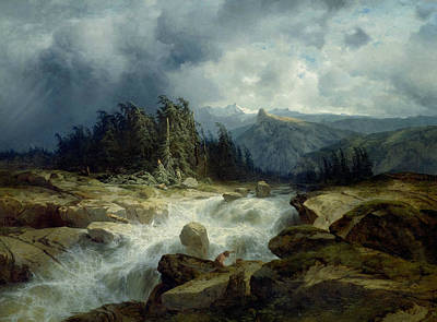 Mountain By Storm Torrent Print by Alexandre Calame