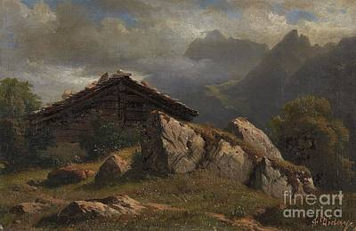 Mountain Cabin Near Frenieres Print by Celestial Images